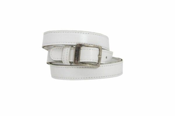 Ladies Narrow White Leather Belt