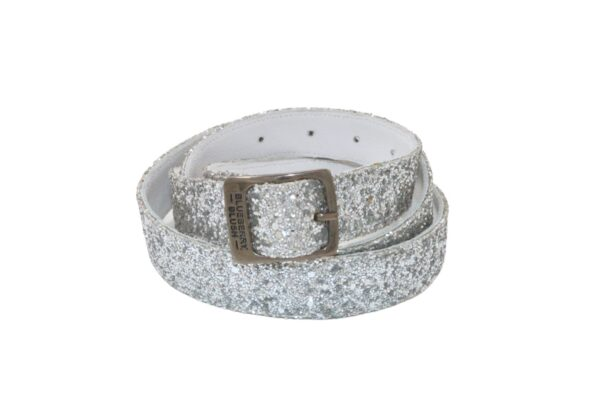 Ladies Broad Glitter Silver Belt